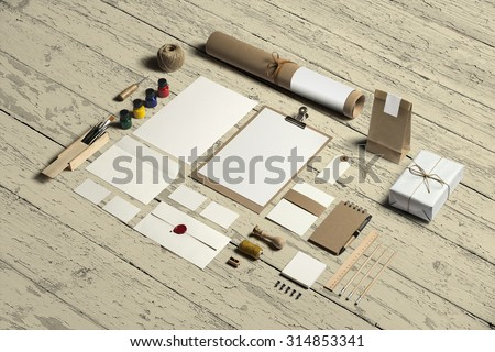 Art and Craft Stationery, Branding Mock-up, with clipping path, isolated, changeable wooden background.