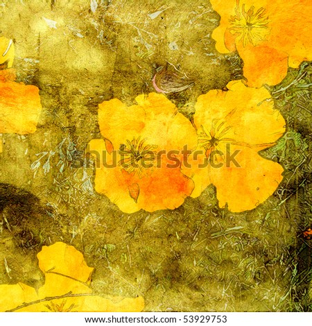 art autumn floral yellow gold and orange violets grunge graphic and watercolor background for family holidays - stock photo