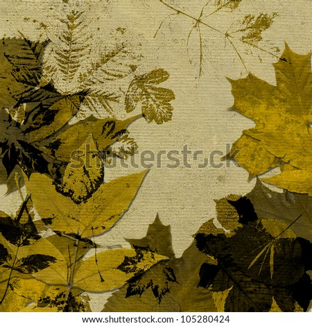 art autumn golden leaves pattern on beige background; card with space for text