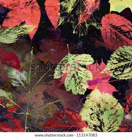 art autumn leaves background, card in pink, purple, red, brown and green colors