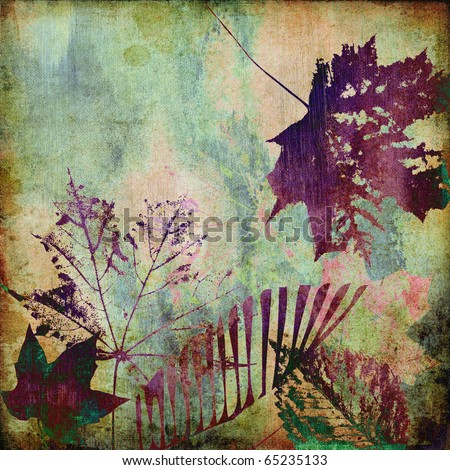 art autumn leaves grunge background with space for text