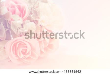 Art background,Bouquet of orange roses soft blur background in vintage pastel tones.