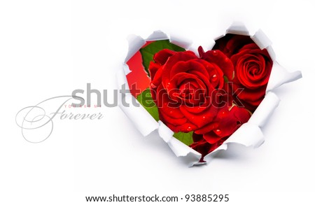 Art banner design of red roses and the paper heart on Valentine Day