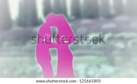 art beautiful kiss in garden