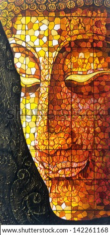 Art Buddha stained glass. Acrylic color painting on canvas.