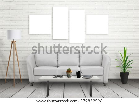Art canvas on white brick wall. Four isolated. Sofa, lamp, plant, glasses, book, coffee on table in room interior.