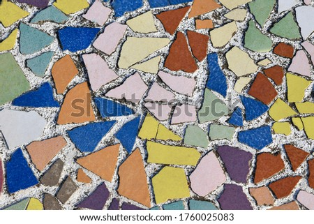Art ceramic mosaic on the floor, mosaic background. colorful mosaic. texture mosaic.