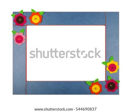 Art children frame with velvet flowers on a white background. Isolated