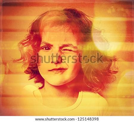 art children portrait .Photo based illustration.Extreme texture and grain added.