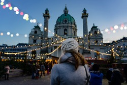 art christmas advent market in Vienna at the Karsplatz with many people