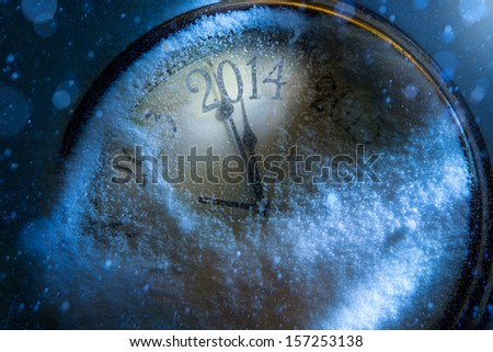 Art Christmas and New year clock 2014
