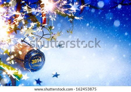 art Christmas and 2014  New year party background #162453875