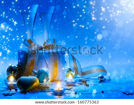 Art Christmas and New Year party; champagne, gift #160775363