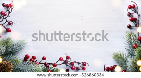 art Christmas holidays composition with Christmas tree decoration on white background and copy space for your text  #526860334