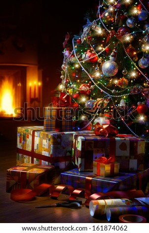 Stock Photo Art Christmas Tree and Christmas gift boxes in the interior with a fireplace
