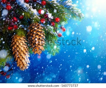 Art Christmas tree on blue night  background