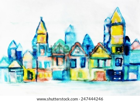 Art city background or Amsterdam background, Watercolor city background
