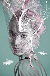 art collage portrait contemporary vision fashion photography. woman face under water