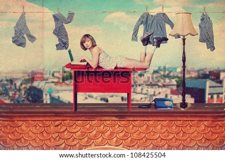 art collage with beautiful woman, vintage image