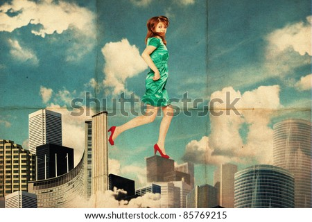 art collage with woman in clouds, city - stock photo