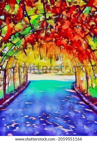 art color of tunnel in nature garden