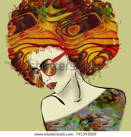 art colorful illustration with face of beautiful girl with glasses in profile with gold, red, orange and green afro funky curly hair, in party dress on olive background in mixed media style