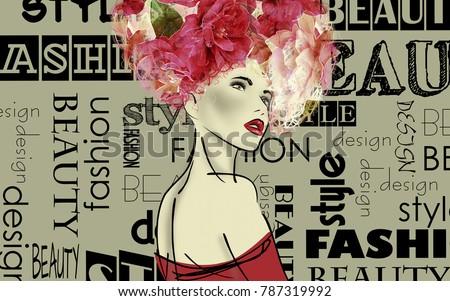 Vintage fashion background  Letters,… Stock Photo 254712028
