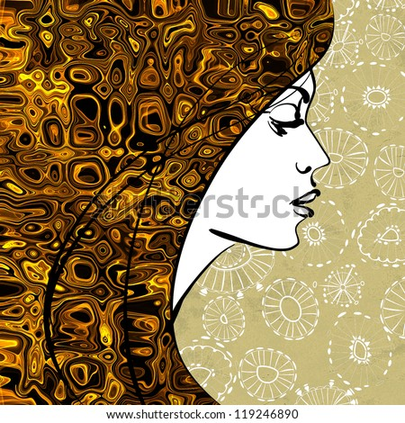 art colorful sketching beautiful girl face with golden ornament hair on sepia floral background