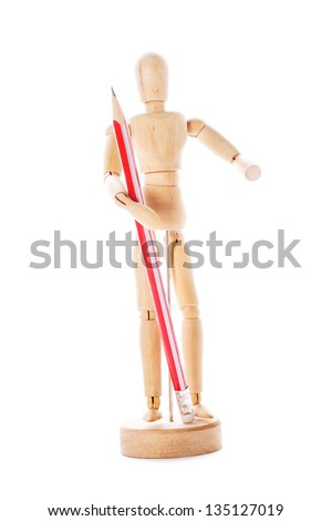 Art concept, wooden figure for modeling poses of human and pencil