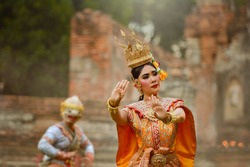 Art culture Thai Dancing in masked khon Benjakai in literature amayana,Thailand