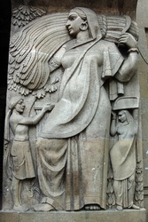 Art Deco Agriculture Sculpture, Mumbai, formerly Bombay, India.   The statues depict India's success in agriculture with grain being harvested.
