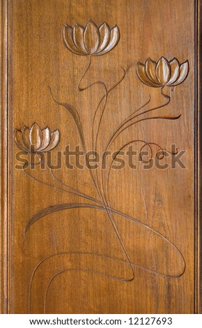 art deco carving decoration at wooden case