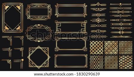 Art deco elements set. Creative golden borders and frames. Dividers and headers for luxury or premium design. Old antique elegant elements isolated on dark . Decoration for cards  illustration Foto stock ©