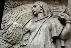 Art Deco farming woman sculpture, Mumbai (formerly Bombay),  India.