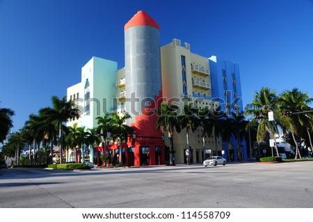 Art deco stores on Ocean Drive South Beach, Miami, Florida, USA