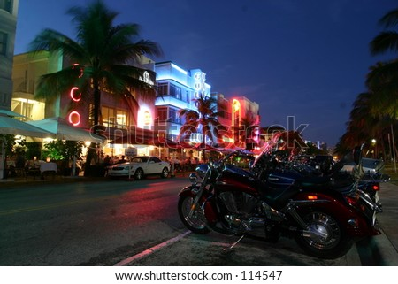 Art Deco street from Miami, Florida - stock photo