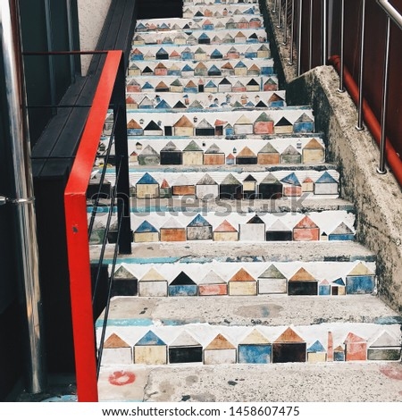 Art decoration on stairs during city walk made from plaster and paint