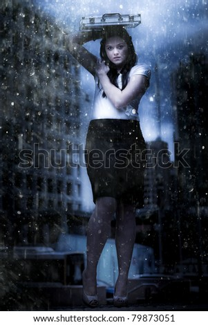 Art Design Photo Of A Business Woman On Dark City Street Caught In The Pouring Rain Of A Business Storm In A Metaphor Of Insurance Cover And Financial Dept Crisis