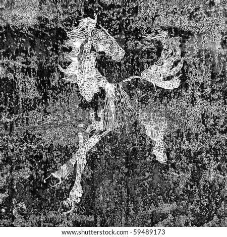 art drawing of a horse, monochrome black and white grunge background