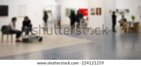 Art exhibition gallery abstract background, intentionally blurred post production.