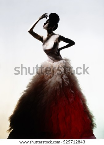 Art fashion studio photo of beautiful elegant woman in luxury evening dress.  Drawing of shadows and light.  - Shutterstock ID 525712843