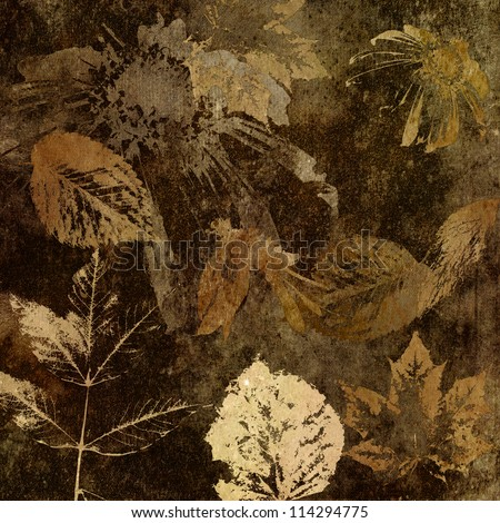art floral and leaves autumn background card in brown, beige and black colors