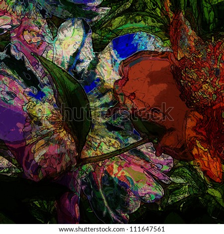art floral colorful pastel background - stock photo