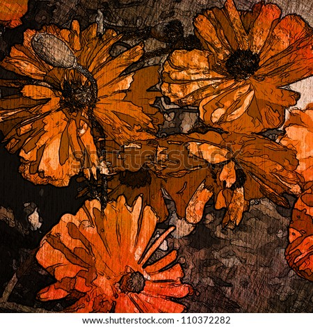 art floral grunge background in orange, red  and brown colors