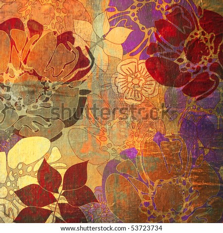 art floral grunge golden and red background, pattern with stylization flowers