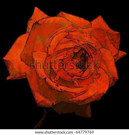 art floral grunge graphic background with one rose