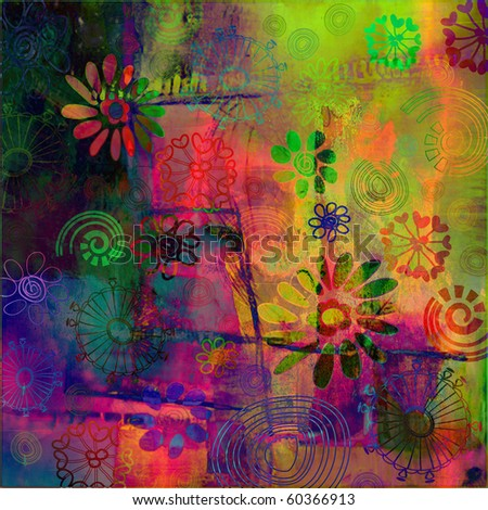 art floral grunge rainbow background with vibrant pink, violet, red coral, green, blue and gold yellow colors