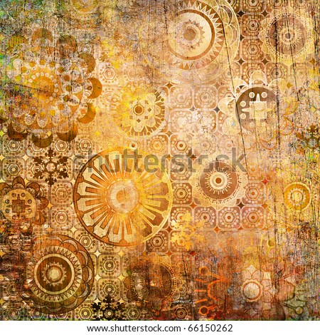 art floral ornamental grunge background in gold, orange and brown colors