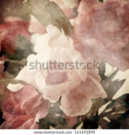 art floral vintage blurred sepia background with light pink peonies