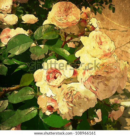 art floral vintage colorful background with vanilla roses in green leaves